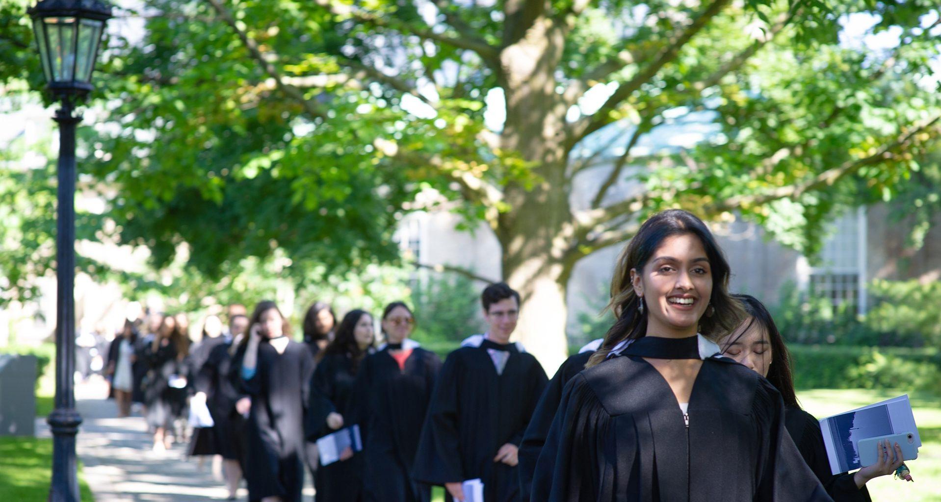 Graduands process to Convocation Hall for their Graduation Ceremony