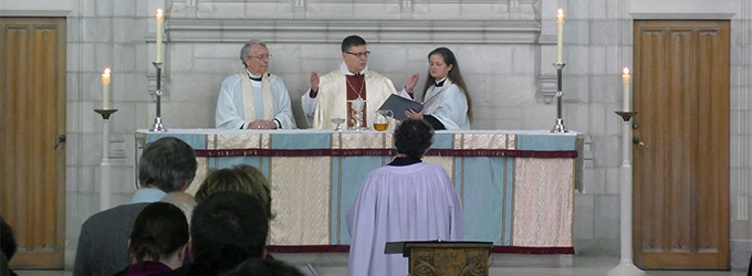 The reverends David Neelands, Colin Johnson and Andrea Budgey lead the service in the Trinity Chapel