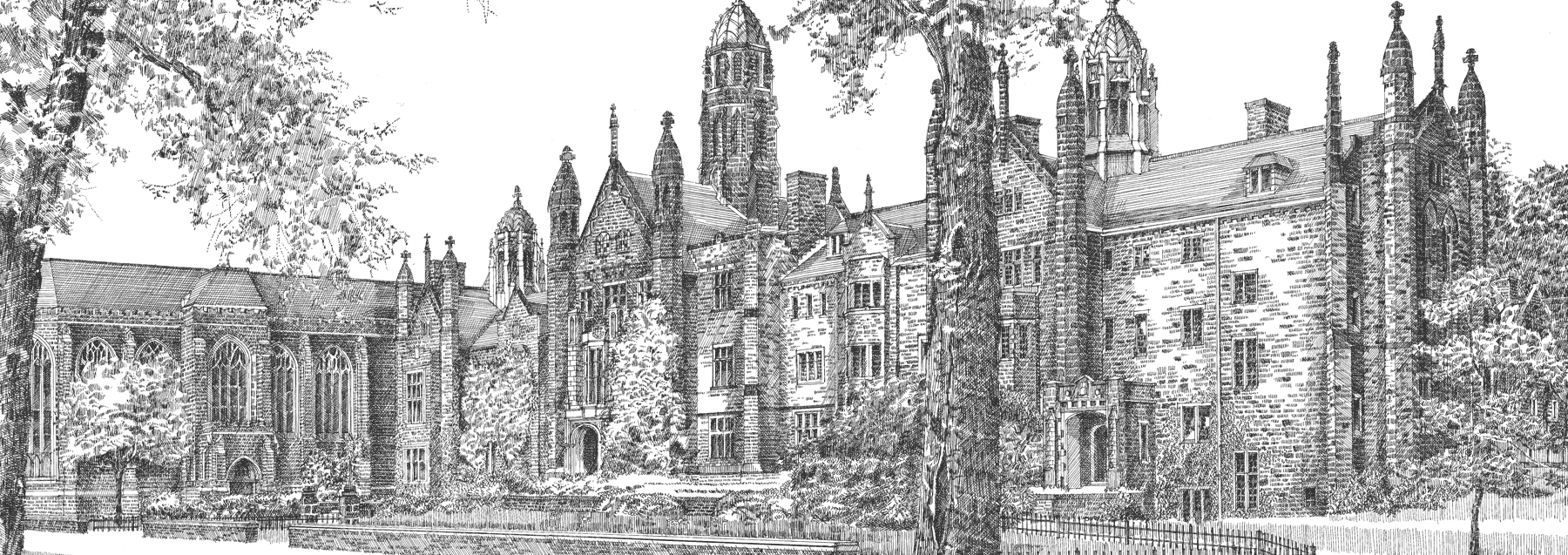 Etching illustration of the front campus of Trinity College