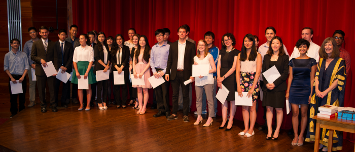 Graduation Awards 2015 recipients on stage at the George Ignatieff Theatre