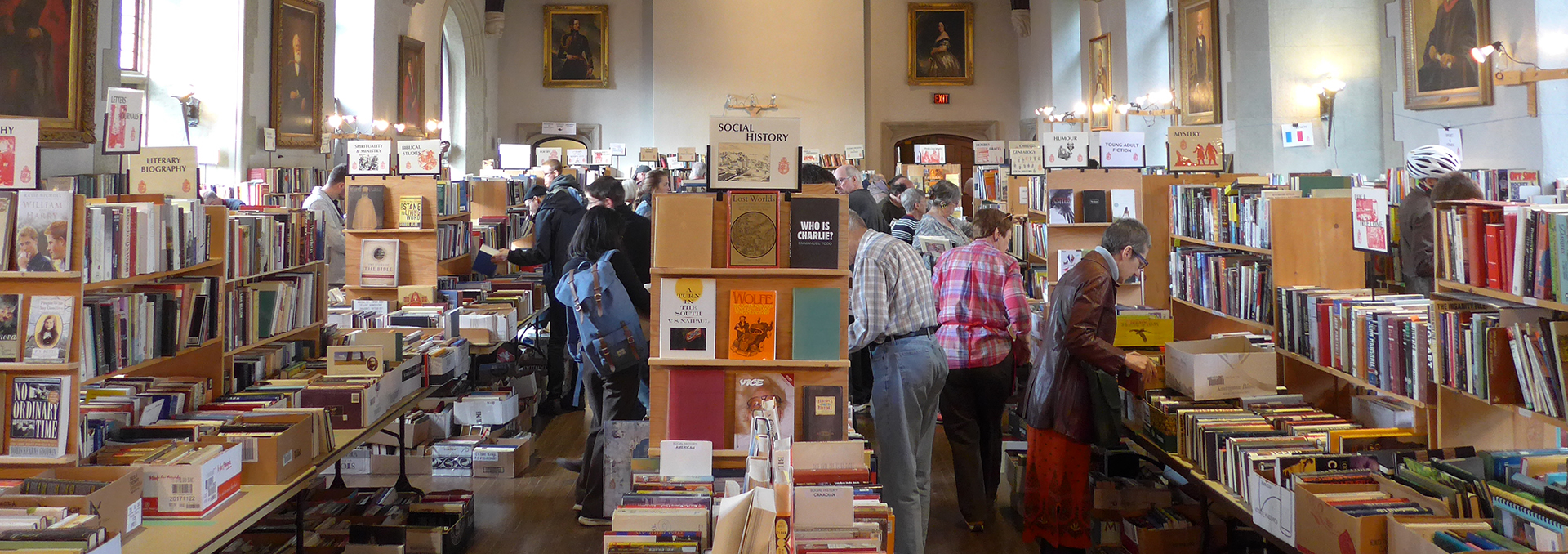 Shoppers at the Book Sale in Seeley Hall