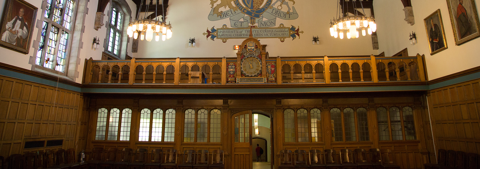 View of the balcony and clock in Strachan Hall