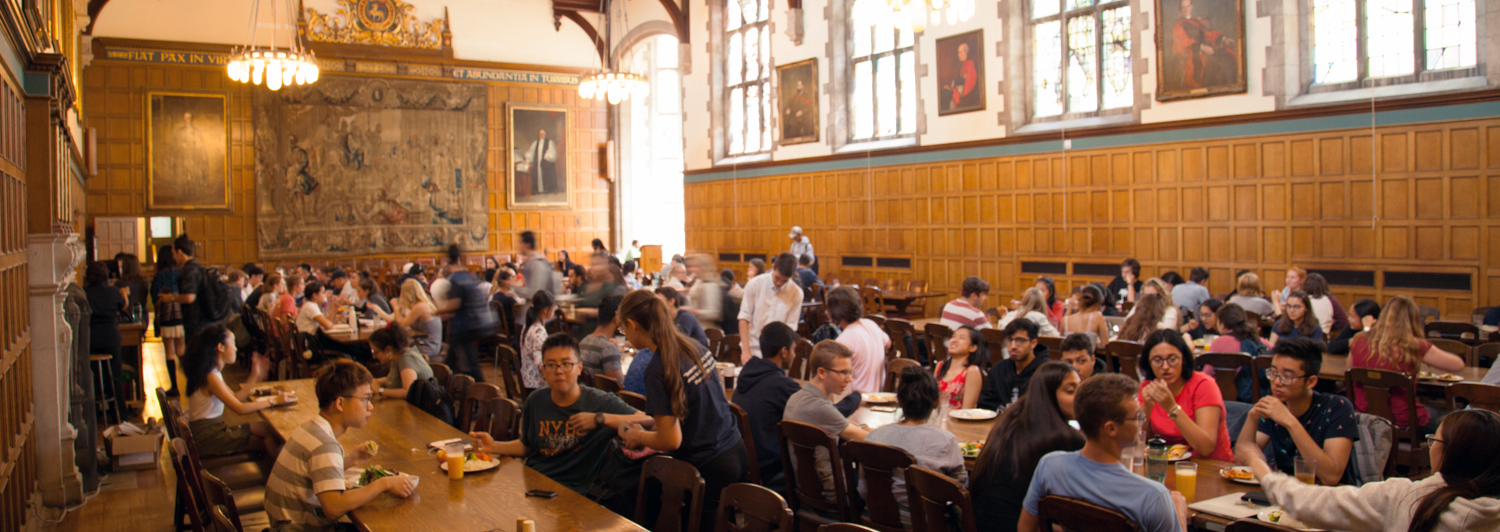 Students eating in Strachan Hall