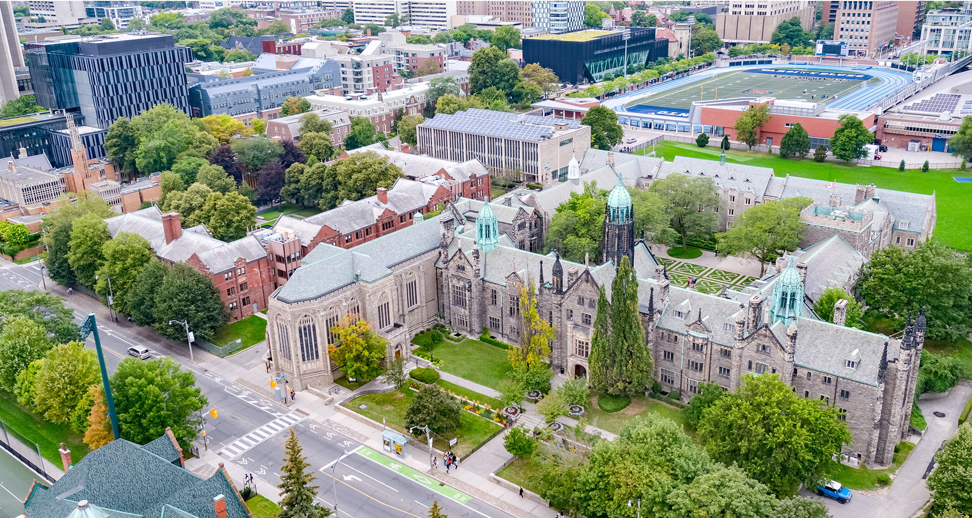 Ariel view of the Trinity College campus