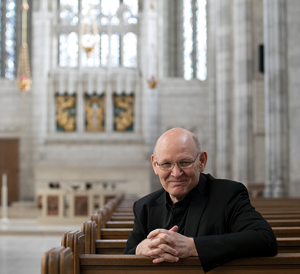 Michael Coren sits in the pews in the Trinity College Chapel testimonial1