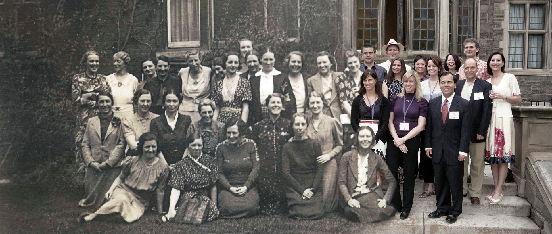 Graduates posed at Reunion 1930 and 2009