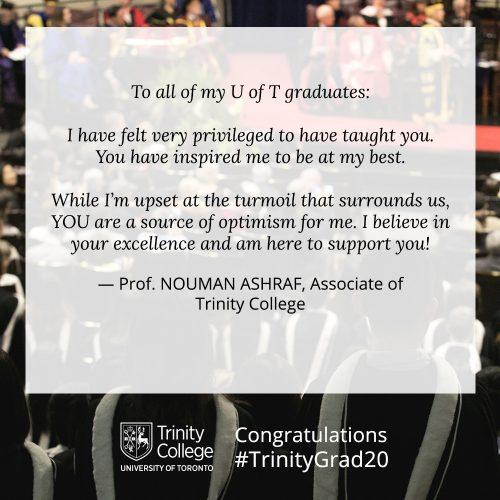 Congratulations message to TrinityGrad20 from Nouman Ashraf