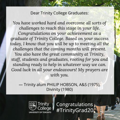 Congratulations message to TrinityGrad20 from Philip Hobson