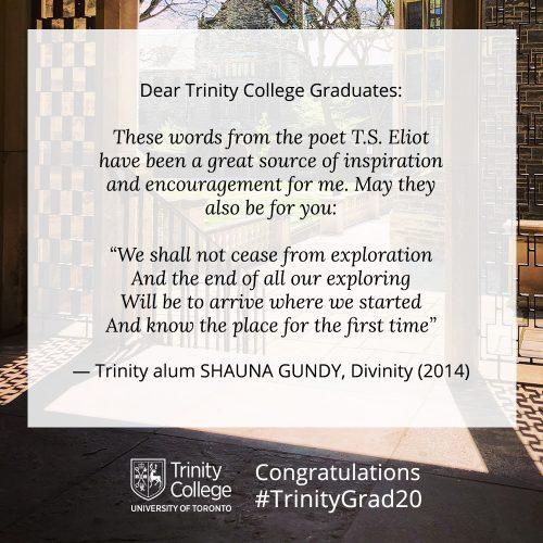 Congratulations message to TrinityGrad20 from Shauna Gundy