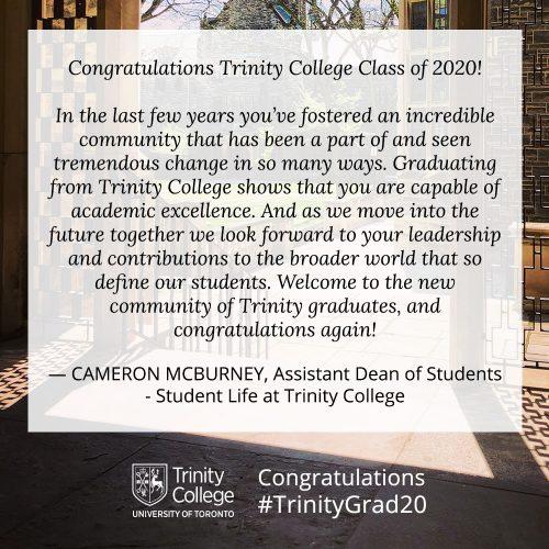 Congratulations message to TrinityGrad20 from Cam McBurney