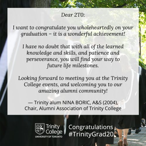 Congratulations message to TrinityGrad20 Nina Boric