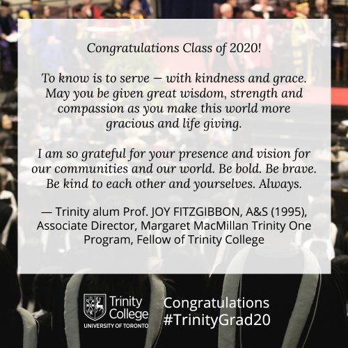 Congratulations message to TrinityGrad20 from Joy Fitzgibbon