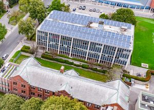 Solar panels on the Gerald Larkin Building