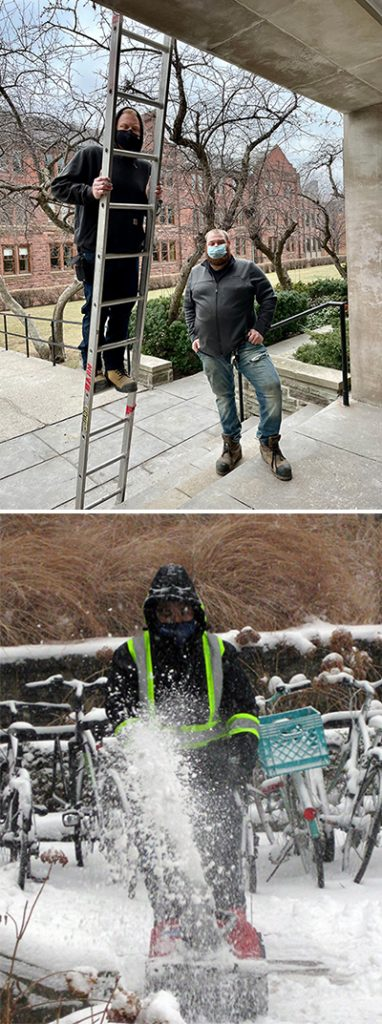Facility Services staff maintaining the campus - fixing lights and clearing snow