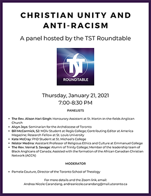 Poster for TST Roundable on Christian Unity and Anti-Racism