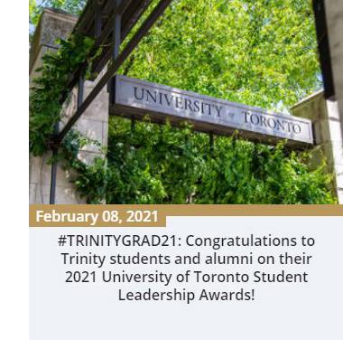 2021 U of T Student Leadership Awards Trinity News - Feb 8, 2021