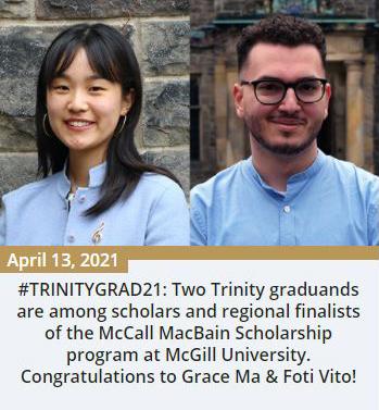 Trinity News item for Grace Ma and Foti Vito - April 13, 2021