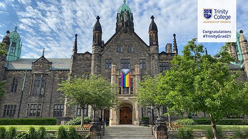 Trinity College with Pride Flag: TrinityGrad21 Virtual Background