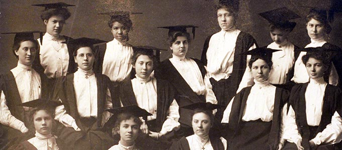 Myrtle Burgess in among classmates in a 1909 class photo composite