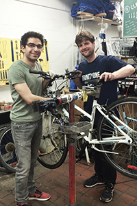 Repairing a Bicycle for Trinity's Bicycle Recycling Program