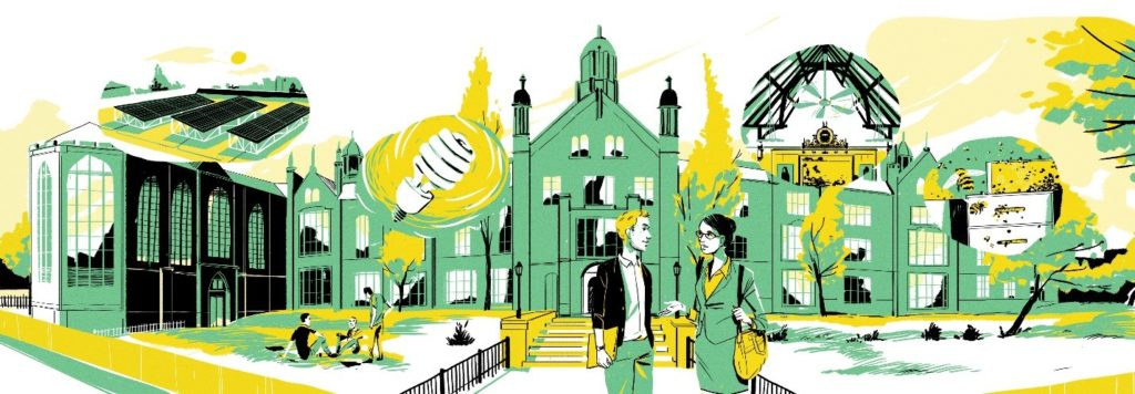 Illustration of the Trinity College campus and green initiatives